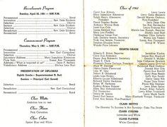 Cortland High School 1961 graduating class program