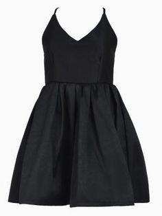 Open Back Skater Dress in Black