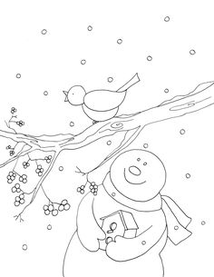 Free ... snowman with bird and birdhouse... a colored version in post as well