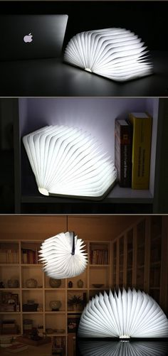 of environmental wooden material,applied with lasing cutting technology to ensure that bending doesn't cause damage to lamp. Desktop Lamp, Book Lamp, Led Diy, Book Folding, Bending, Light Art, Led Lamp, Light Decorations, Night Light