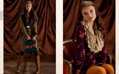 I like the one on the right with floral dress, mustard tights, and scarf!