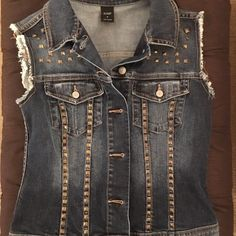 VS Victorias Secret Studded Jean Denim Vest ~VICTORIA SECRETS LONDON JEANS~ DENIM VEST WITH GOLD STUD SIZE S  LIKE NEW CONDITION have worn it a few times.  I am trying to thin out my home of things I don't use... so here it is!  If you need more photos let me know Victoria's Secret Jackets & Coats Vests