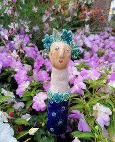 Gartenfigur türkis gepunktet Keramik Skulptur Gartenkeramik Wohndekoration Gartendeko Handmade Art, Etsy, Ceramic Fish, Ceramic Birds, Romantic Places, Sculptures, Things To Do, Handmade, Creative