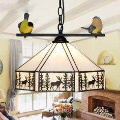 Mediterranean Style Resin Brid Pendant Lamp American Countryside Antler Pendant Light Single Head Balcony Cafe Bar Hanging Lamp