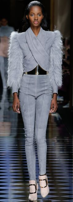 Balmain Fall '16 head to toe grey with a hint of nude...all I want to be in this winter.