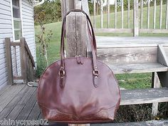Liz Claiborne Vintage Brown Leather Bowling Style Shoulder Bag Handbag Purse