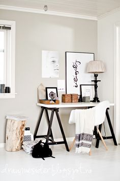 Loving this bright white office space
