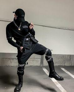 Mode Cyberpunk, Cyberpunk Fashion, Korean Fashion Men, Korean Street Fashion, Mode Streetwear, Streetwear Fashion, Aesthetic Fashion, Aesthetic Clothes, Style Du Japon
