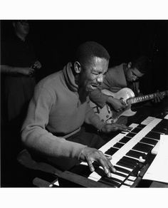 """""""INCREDIBLE JIMMY SMITH""""    Guitarist Kenny Burrell accompanies organist Jimmy Smith during a recording session at the Manhattan Towers for a Jimmy Smith album. Blue Note founder Alfred Lion listens in the background – 57-59.   ©  Francis Wolff"""