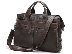 Leather Satchel Handbag Laptop with Multi-Compartments