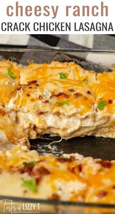 Creamy Crack Chicken Lasagna with Bacon and Ranch – Tastes of Lizzy T Creamy, cheesy Crack Chicken Lasagna! Your family will come running for this easy casserole with ranch seasoning, bacon and rotisserie chicken. via Tastes of Lizzy T Crack Chicken, Chicken Bacon, Grilled Chicken, Easy Healthy Recipes, Easy Dinner Recipes, Yummy Easy Dinners, Easy Meals For Dinner, Cheesy Recipes, Casserole Recipes