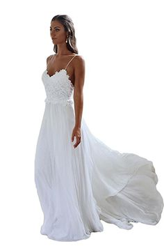 a63b5a33f8bb ScelleBridal Women's Simple Lace Chiffon Beach Wedding Dress Hot Sleeveless  Prom Gown128 Lace Beach Wedding Dress