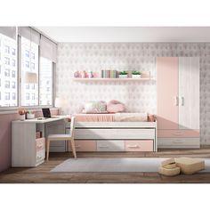 Compacta juvenil barata diseño con dos camas (Opcionales armario,diáfanos y escritorio) 202 cm. Ideas Hogar, Kids Bedroom, Corner Desk, Foyer, Storage, House, Furniture, Design Bedroom, Home Decor