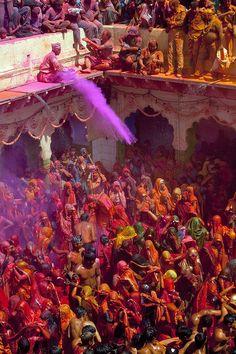 Holi, The Hindu Festival Of Colors (at the Bankey Bihari Temple in Vrindavan, India)