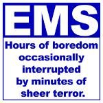 EMS: hours of boredom occasionally interupted by minutes of sheer terror.