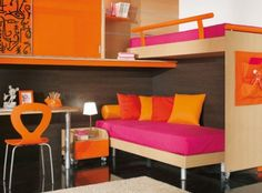 Girl's room~ Super cool lounge effect w/office space & an extra bed on top! Love the currently in-style color blocking scheme.