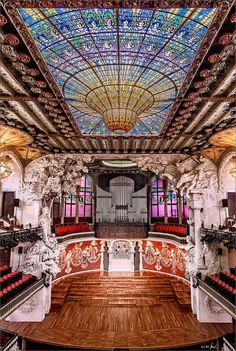 The Palau de la Música Catalana (English: Palace of Catalan Music) is a concert hall in Barcelona, Catalonia, Spain. Designed in the Catalan modernista style by the architect Lluís Domènech i Montaner, it was built between 1905 and 1908 for the Orfeó Català, a choral society founded in 1891 that was a leading force in the Catalan cultural movement that came to be known as the Renaixença (Catalan Rebirth), It was inaugurated February 9, 1908.