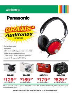Por la compra de uno de estos modelos de Camaras Digitales Panasonic, lleva totalmente GRATIS unos audifonos HP-RTX7P