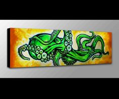 Sale!! Neon Green Octopus Painting | Octopus Art |  Octopus Canvas Print | Octopus Wall Art https://seethis.co/nRQWr9/ #octopus #wallart #art