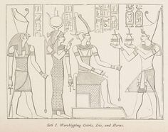 """Seti_I._Worshipping_Osiris,_Isis,_and_Horus._(1884)_-_TIMEA.jpg (1024×809) ~The Trinity was developed in Egypt and Babylon as was the use of the cross in worship, and later spread to """"Christendom""""."""