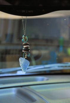 Sea Glass Rear View Mirror Charm - Beach Stones and Sea Glass, Car charm, Mirror dangle, Rear view mirror charm. $26.00, via Etsy.