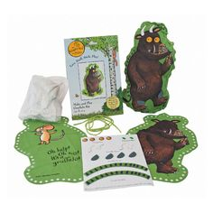 This fun-packed product features green cotton fabric pieces with pre-punched threading holes ready for lacing. The complete kit includes two pieces of fabric, a The Gruffalo, Green Cotton, Dark Wood, Cotton Fabric, Kit, Play, Threading, How To Make, Dark Hardwood