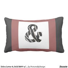 """Bold personalized pillows, with your LETTER in B&W Zebra print, and framed in trendy black, white & cranberry. Back of pillow is in coordinating black & white chevron pattern. Design as shown contains the """"AMPERSAND"""" if you want a """"connector pillow between His & Her initials! ALL letters of the alphabet are available. If your LETTER of choice is not currently in my store, message me, and I'll make it available immediately!"""