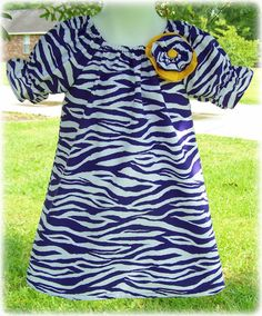 Custom Boutique Clothing Girls Dress Purple and White LSU Tigers Zebra Peasant Dress, Size 0-3mos to 8yr. $45.00, via Etsy.
