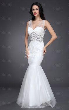 White Mermaid Floor-length Spaghetti Straps Dress