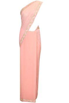 Peach pearl and cheeta work sari with cut work blouse by Arpita Mehta. Shop now: http://www.perniaspopupshop.com/designers/arpita-mehta #sari #blouse #arpitamehta #shopnow #perniaspopupshop