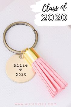 Adorable custom graduation gift tassel keychain! Shop all 12 tassel colors and more designs options at www.alistgreek.com for $15! #grad #gradgifts #sororitygrad #collegegraduation #graduationgifts #graduation #gifts #keychain #tassel #custom #personalized #greekletter #aphi #kkg #kappa #tridelta #deltagamma