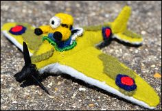 Spitfire Minion Made by Uniquekerer, Goldfishdreams, Handmade, Crafted, OOAK, Beautiful, Unique, Needle Felting, Minion, Spitfire, Airplane, Despicable Me,