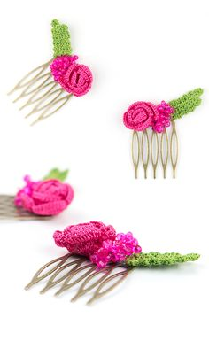 Crochet Pink Rose Flower Hair Combs,Set of 2,Wedding Accessory