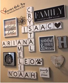 Large scrabble tiles scrabble tiles wall art family wall art scrabble tile wall art scrabble tiles for wall family home decor Wall Decor Living Room Art decor Family Home Large Scrabble Tile Tiles Wall Family Wall Decor, Room Wall Decor, Living Room Decor, Letter Wall Decor, Bedroom Decor, Family Room Decorating, Decorative Wall Letters, Family Wall Collage, Staircase Wall Decor