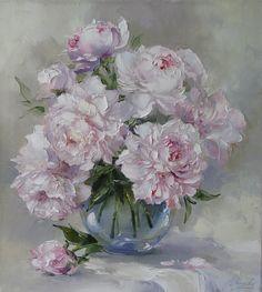 Bouquet of fragrant peonies by Russian artist, Oksana Kravchenko (1971) Russia, Novouralsk