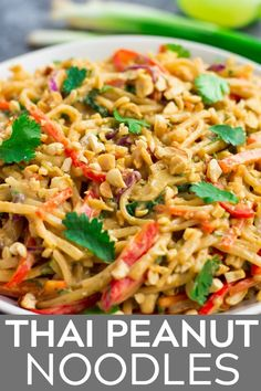 Spicy peanut butter noodles make the best easy vegan dinner recipe. They're healthy, gluten free, and perfect for meal prep. Easy Healthy Recipes, Veggie Recipes, Vegetarian Recipes, Easy Meals, Cooking Recipes, Rice Noodle Recipes, Healthy Meals, Easy Vegan Dinner, Healthy Dinner Recipes