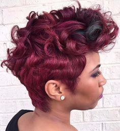 70 Most Gorgeous Mohawk Hairstyles of Nowadays African American burgundy pixie mohawk Pixie Mohawk, Pelo Mohawk, African Braids Hairstyles Pictures, Mohawk Hairstyles, Black Women Hairstyles, Gorgeous Hairstyles, Short Burgundy Hair, Short Hair Cuts, Short Hair Styles