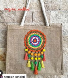 Crochet Tote, Crochet Handbags, Crochet Chart, Crochet Mandala, Crochet Flower Patterns, Hand Knit Bag, Lace Bag, Diy Bags Purses, Crochet Cushions