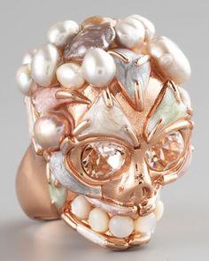 Alexander McQueen Pearl Skull Ring