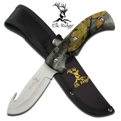 Elk Ridge Fall Camo Gut Hook Hunting Knife via The Knife Shop. Click on the image to see more! #theknifeshop #knives