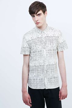 Suit Dip Short Sleeve Shirt in White - Urban Outfitters