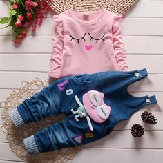Girls spring autumn fashion long sleeve suit t shirt+denim overalls pants baby girls clothing baby girl clothes #Affiliate
