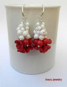 Red white  Lilac earrings   Dangle earrings  by insoujewelry