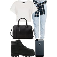 Untitled #122 by kgoldchains on Polyvore featuring moda, Topshop, H&M, Forever 21 and Timberland
