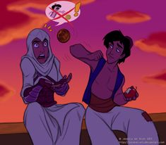 "Apparently Aladdin stole the Apple from Altair. ""An apple is an apple"" by JessKat-art on DeviantArt.com."