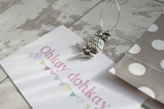 Owl / Hedwig /Harry Potter inspired wine charm by OhKayDohKay