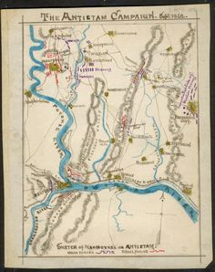 """After reading more in the """"Record of the Campaigns of the Forty-Eighth Regiment Pennsylvania Veteran Volunteer Infantry"""" I dug up this sketched map that includes markings to indicate where Burnside had his forces arrayed.    The Antietam Campaign - Sept. 1862. - Shows the area between Mercerville, Md., to the north and the Potomac River to the south. Click through for zoomable version."""