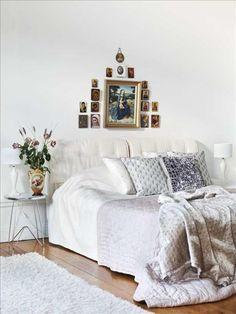 Thérèse har en fäbless för ikoner och madonnor, en samling från olika resor hänger i sov- rummet. På sängen ett överkast i siden samt kuddar från R.o.o.m, Mimou och Sally Ann.