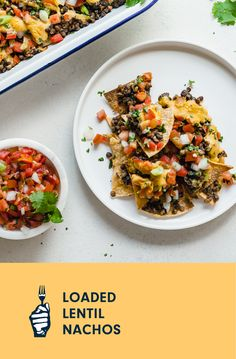 These vegan loaded nachos are piled high with seasoned lentils, pico de gallo, and a mouthwatering cheesy sauce you'd never guess was made from pureed potatoes. Vegan Casserole, Loaded Baked Potatoes, Cheesy Sauce, Vegan Baking, Nachos, Plant Based Recipes, Lentils, Lasagna, Vegan Vegetarian