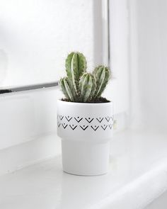 Great gift for house warming party. Garden Pots / Lovely white Flowerpot made of handpainted porcelain – a unique product by MIUUS via en.DaWanda.com
